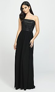 Image of beaded-bodice strapless formal long prom dress. Style: NM-19-120 Front Image