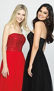 Image of beaded-bodice strapless formal long prom dress. Style: NM-19-120 Detail Image 1