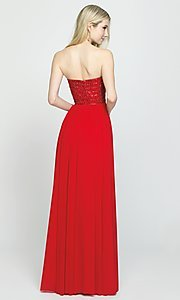 Image of beaded-bodice strapless formal long prom dress. Style: NM-19-120 Back Image