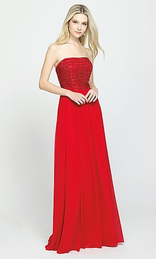 Beaded Strapless Bodice Prom Dress