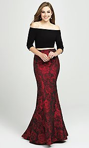 Image of two-piece long off-the-shoulder mermaid prom dress. Style: NM-19-126 Detail Image 1