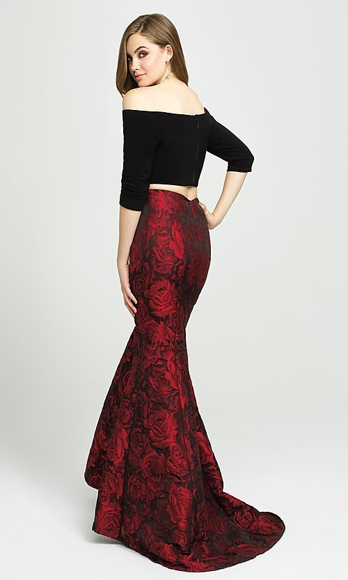 Image of two-piece long off-the-shoulder mermaid prom dress. Style: NM-19-126 Back Image