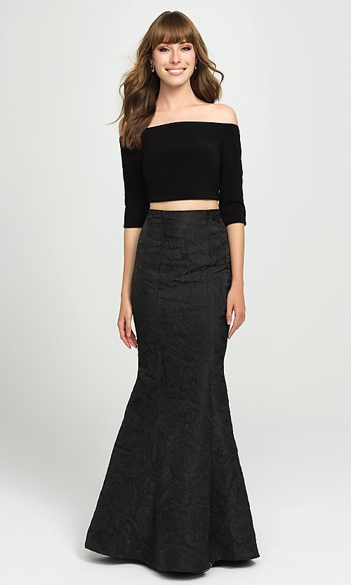Image of two-piece long off-the-shoulder mermaid prom dress. Style: NM-19-126 Detail Image 2
