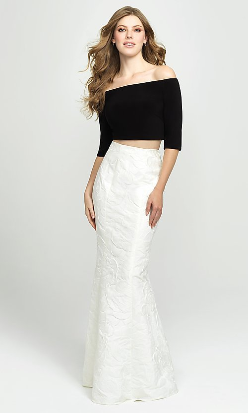 Image of two-piece long off-the-shoulder mermaid prom dress. Style: NM-19-126 Front Image