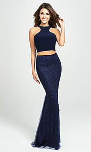 Image of two-piece racerback prom dress with beaded skirt. Style: NM-19-141 Front Image