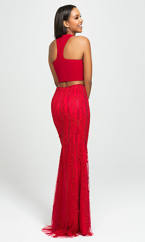 Image of two-piece racerback prom dress with beaded skirt. Style: NM-19-141 Back Image
