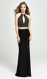 Image of Madison James halter-top two-piece long prom dress. Style: NM-19-143 Front Image