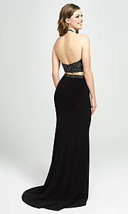 Image of Madison James halter-top two-piece long prom dress. Style: NM-19-143 Back Image
