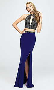Image of Madison James halter-top two-piece long prom dress. Style: NM-19-143 Detail Image 1