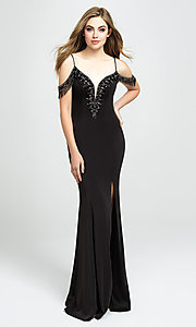 Image of beaded strappy-back long prom dress. Style: NM-19-146 Detail Image 1