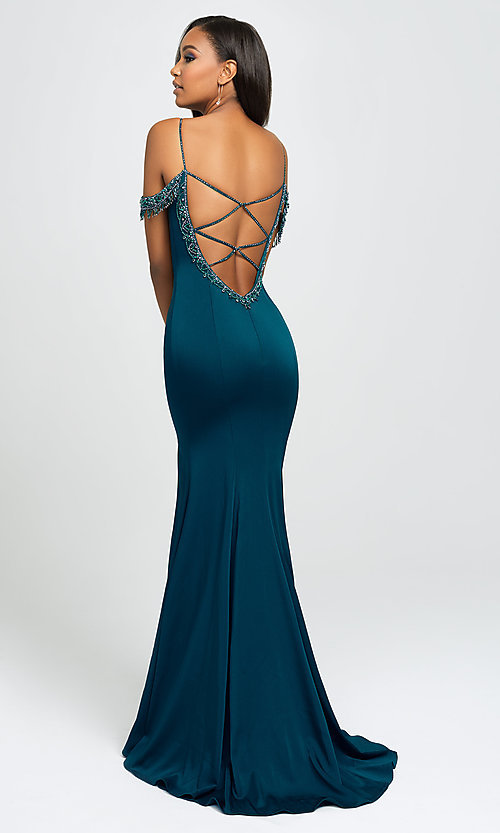 Image of beaded strappy-back long prom dress. Style: NM-19-146 Front Image
