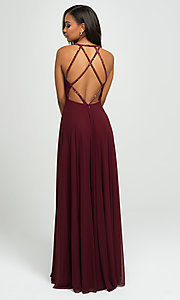 Image of plunging-v-neck prom dress with statement back. Style: NM-19-152 Back Image