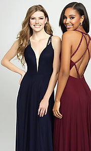 Image of plunging-v-neck prom dress with statement back. Style: NM-19-152 Detail Image 1