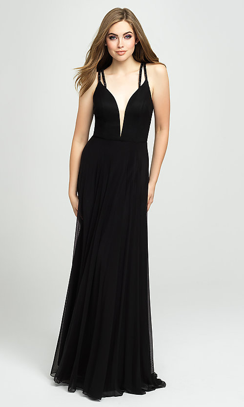 Image of plunging-v-neck prom dress with statement back. Style: NM-19-152 Detail Image 2