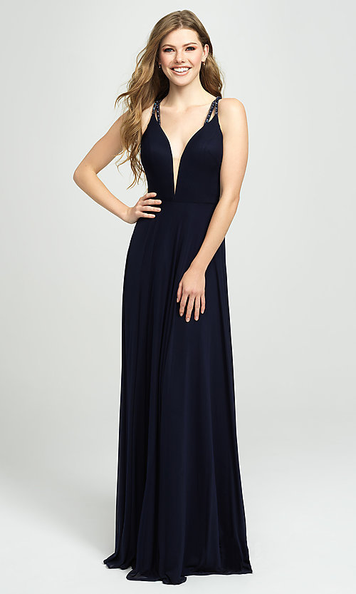 Image of plunging-v-neck prom dress with statement back. Style: NM-19-152 Front Image