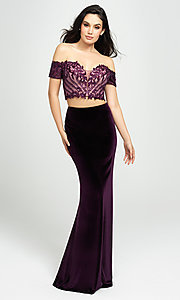 Image of two-piece velvet off-the-shoulder long prom dress. Style: NM-19-157 Front Image