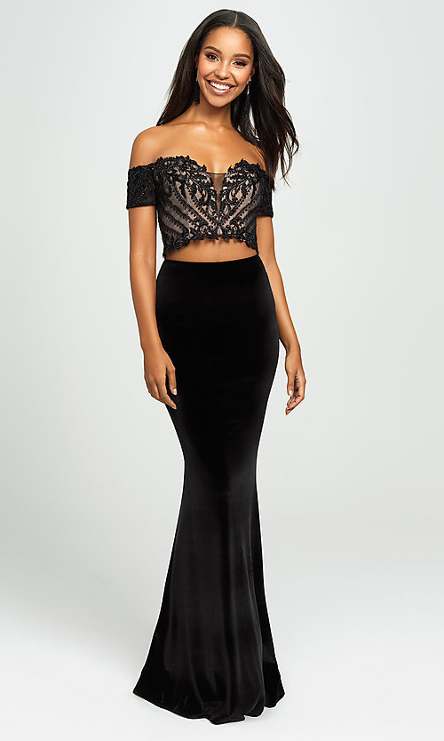 Image of two-piece velvet off-the-shoulder long prom dress. Style: NM-19-157 Detail Image 3