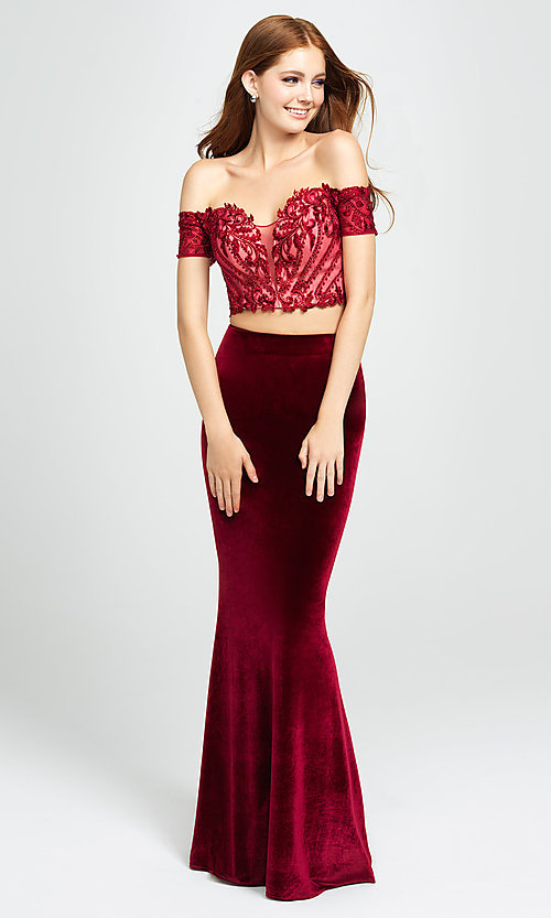 Image of two-piece velvet off-the-shoulder long prom dress. Style: NM-19-157 Detail Image 2