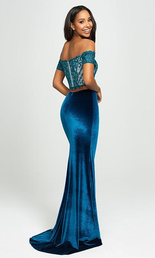 Image of two-piece velvet off-the-shoulder long prom dress. Style: NM-19-157 Back Image