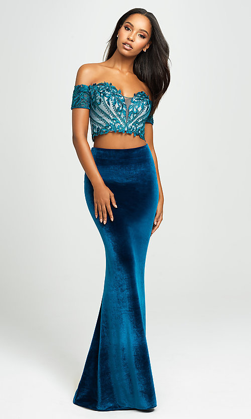 Image of two-piece velvet off-the-shoulder long prom dress. Style: NM-19-157 Detail Image 1