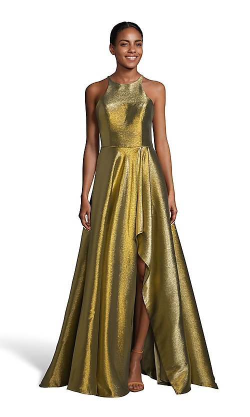 Image of high-low iridescent prom dress by Alyce. Style: AL-60714 Detail Image 1