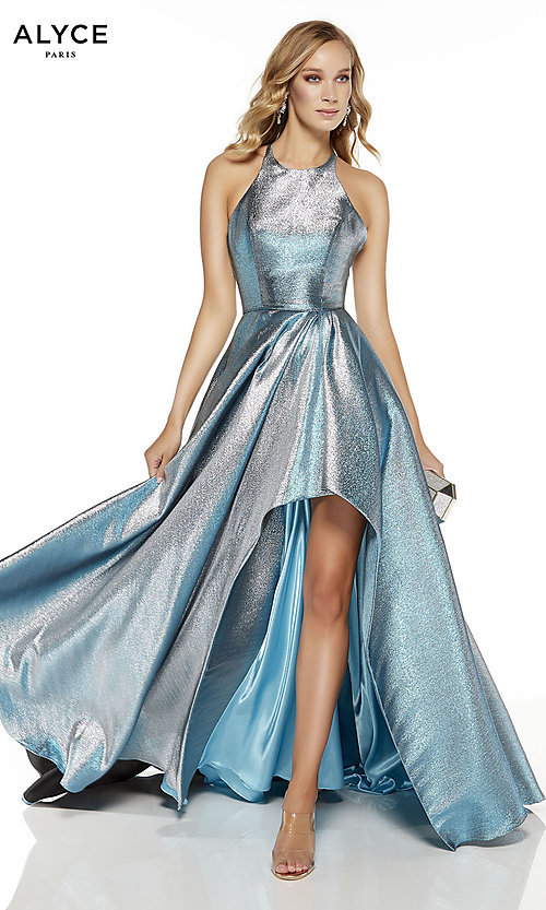Image of high-low iridescent prom dress by Alyce. Style: AL-60714 Front Image