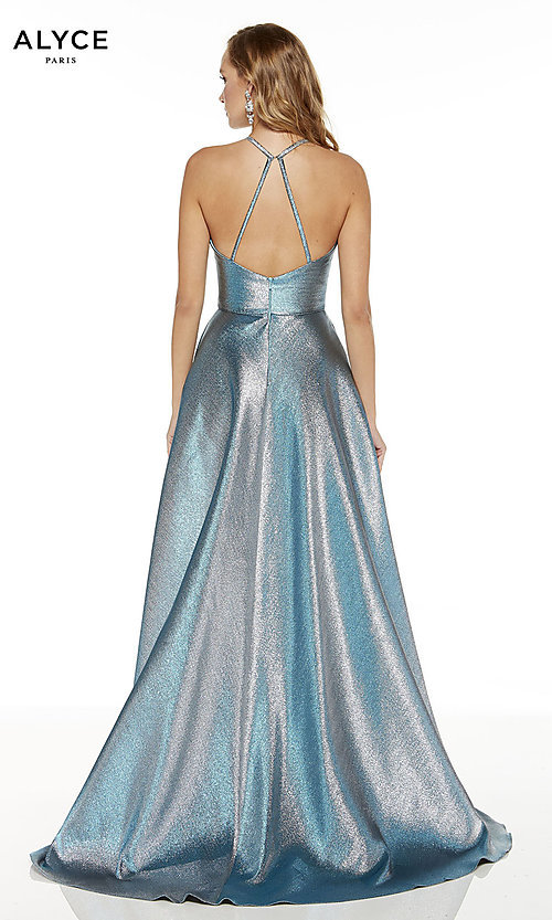 Image of high-low iridescent prom dress by Alyce. Style: AL-60714 Back Image