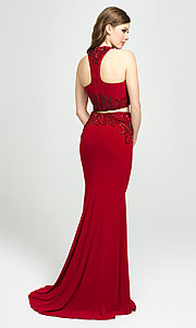Image of two-piece long Madison James racerback prom dress. Style: NM-19-165 Back Image