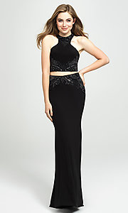 Image of two-piece long Madison James racerback prom dress. Style: NM-19-165 Detail Image 1