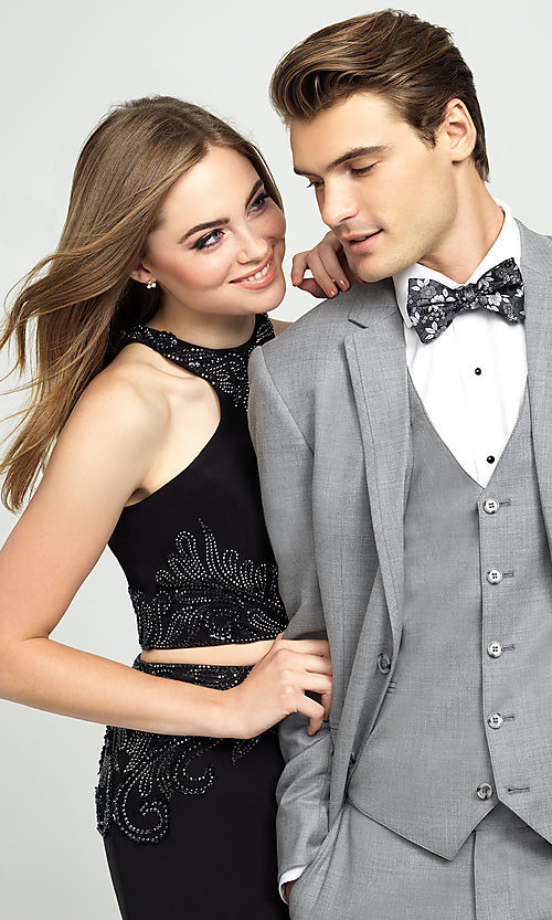 Image of two-piece long Madison James racerback prom dress. Style: NM-19-165 Detail Image 2