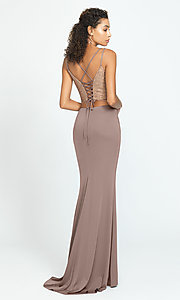 Image of long two-piece prom dress with v-neck corset top. Style: NM-19-167 Back Image