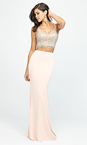 Image of long two-piece prom dress with v-neck corset top. Style: NM-19-167 Detail Image 2