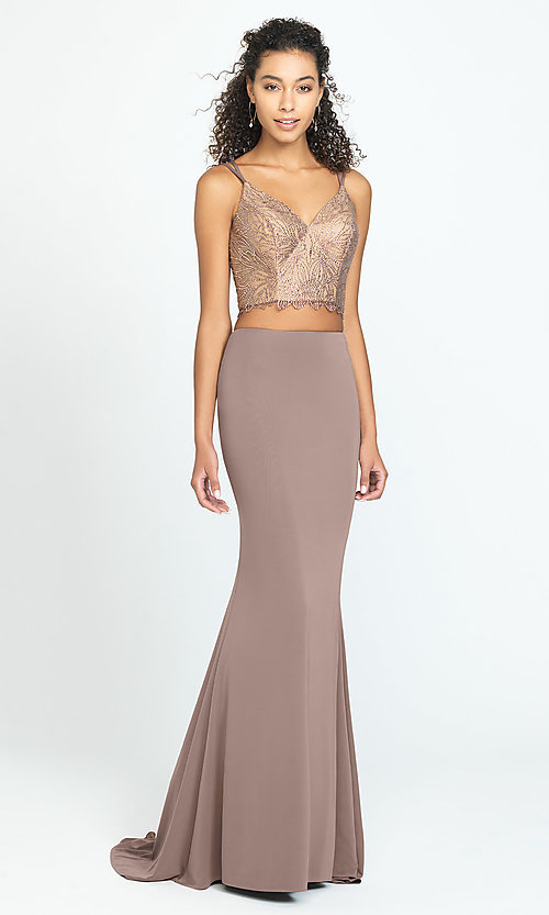 Image of long two-piece prom dress with v-neck corset top. Style: NM-19-167 Front Image