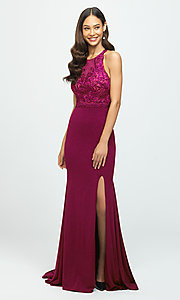 Image of open-back illusion-bodice glitter long prom dress. Style: NM-19-168 Detail Image 2