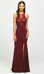 Image of open-back illusion-bodice glitter long prom dress. Style: NM-19-168 Front Image
