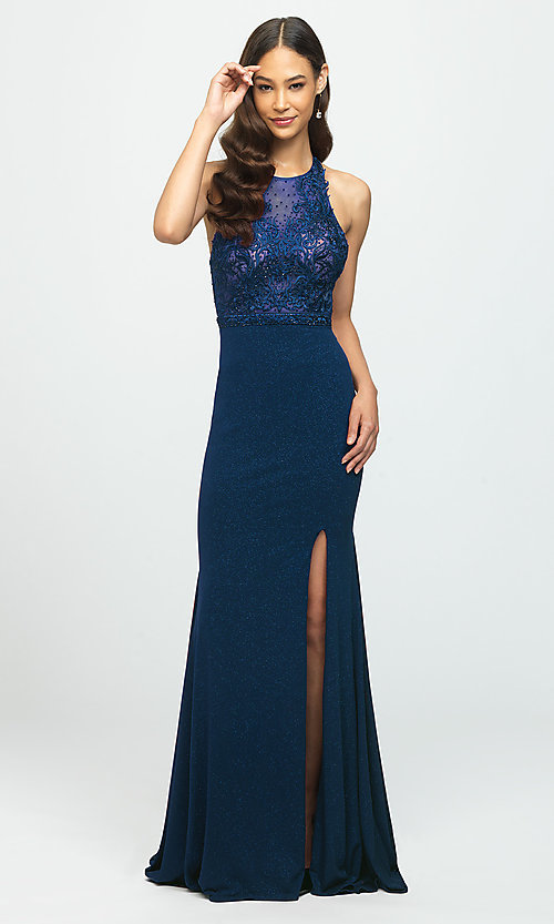 Image of open-back illusion-bodice glitter long prom dress. Style: NM-19-168 Detail Image 3