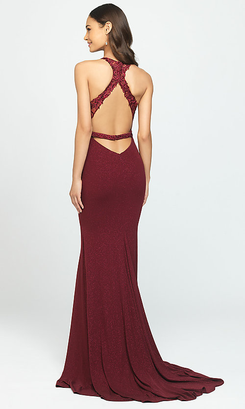 Image of open-back illusion-bodice glitter long prom dress. Style: NM-19-168 Back Image