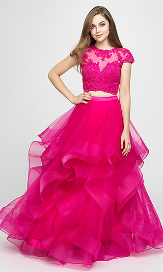 Short-Sleeve Two-Piece Ball Gown for Prom