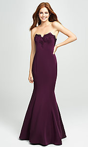 Image of ruffled-back long strapless formal prom dress. Style: NM-19-172 Detail Image 2