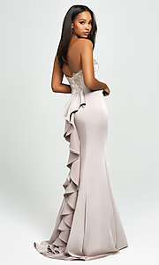 Image of ruffled-back long strapless formal prom dress. Style: NM-19-172 Front Image