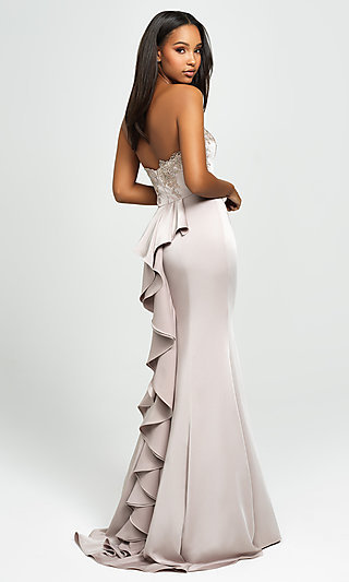 Ruffled-Back Long Strapless Formal Prom Dress