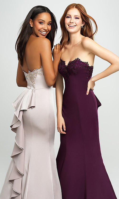 Image of ruffled-back long strapless formal prom dress. Style: NM-19-172 Detail Image 1