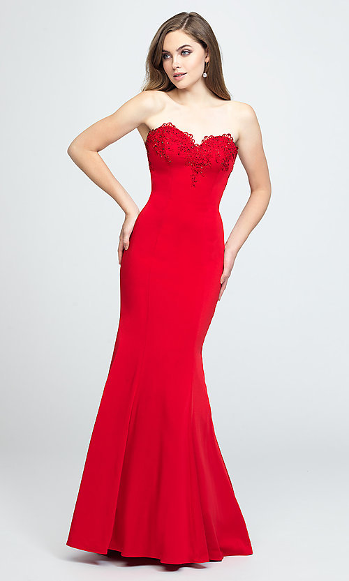 Image of ruffled-back long strapless formal prom dress. Style: NM-19-172 Detail Image 4
