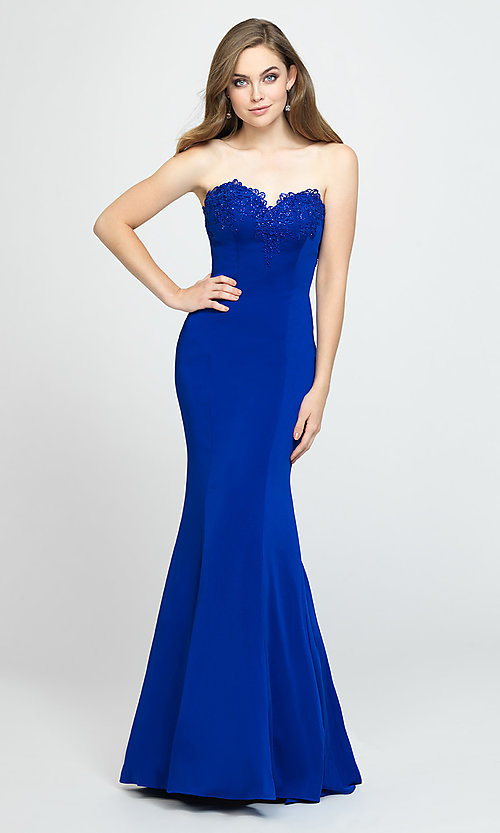 Image of ruffled-back long strapless formal prom dress. Style: NM-19-172 Detail Image 5