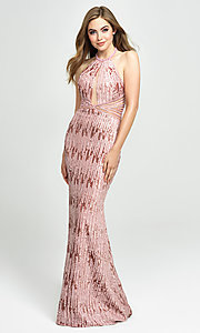 Image of backless halter sequin prom dress by Madison James. Style: NM-19-179 Detail Image 1