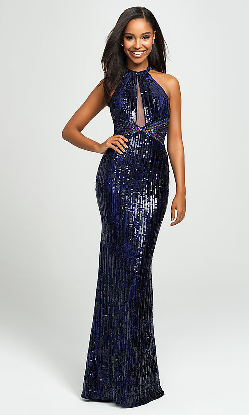 Image of backless halter sequin prom dress by Madison James. Style: NM-19-179 Front Image