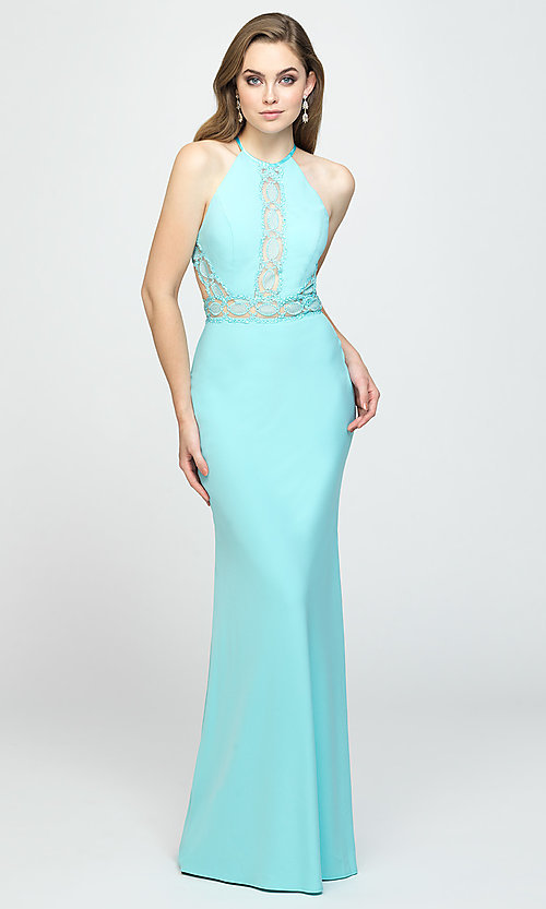 Image of high-neck long formal prom dress by Madison James. Style: NM-19-184 Detail Image 2