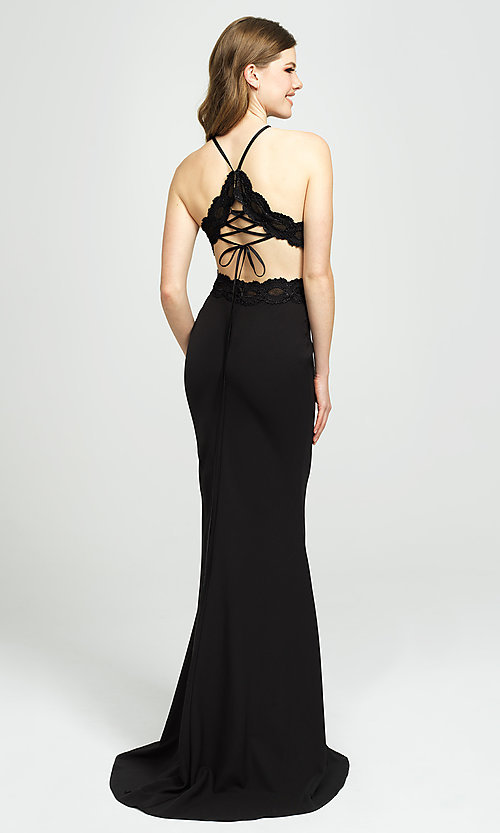 Image of high-neck long formal prom dress by Madison James. Style: NM-19-184 Front Image