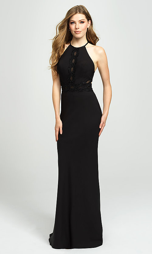 Image of high-neck long formal prom dress by Madison James. Style: NM-19-184 Back Image