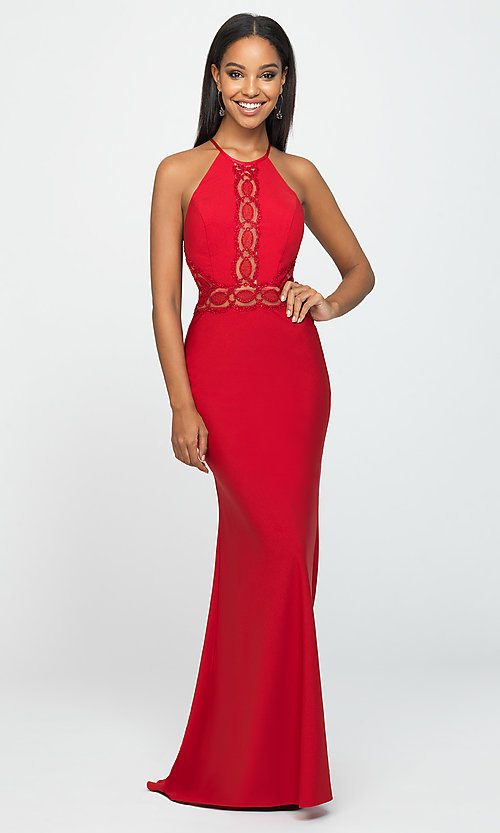 Image of high-neck long formal prom dress by Madison James. Style: NM-19-184 Detail Image 1